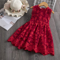 Dress gules female Other / other Other 100% summer Europe and America Skirt / vest Solid color Pure cotton (100% cotton content) A-line skirt Class A 18 months, 2 years old, 3 years old, 4 years old, 5 years old, 6 years old, 7 years old, 8 years old