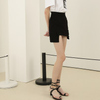 skirt Summer 2020 XS,S,M,L,XL Black, white Short skirt commute High waist A-line skirt Solid color Type A other Other / other Simplicity
