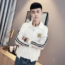 Jacket Kaidenu Youth fashion White black M L XL 2XL 3XL routine Self cultivation Other leisure summer Polyester 100% Long sleeves Wear out Lapel tide teenagers routine Zipper placket No iron treatment Closing sleeve other Summer 2020 Rib bottom pendulum Pure e-commerce (online only)