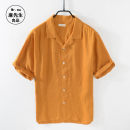 shirt Fashion City Others M,L,XL,2XL,3XL White, turmeric, lotus root powder Thin money Windsor collar Short sleeve easy Other leisure summer 8097-2 youth Flax 100% Basic public 2019 Solid color Linen washing hemp More than 95%