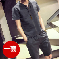 Leisure sports suit summer Short sleeve Other / other Pant teenagers T-shirt Cotton and linen suit Cotton and hemp 2019