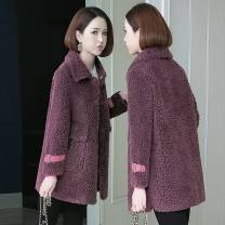 leather and fur Winter 2020 To confuse Purple, chocolate, Gome, scarlet S,M,L Medium length commute Korean version DN891 25-29 years old