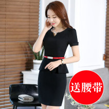 Dress Summer of 2018 Black, blue S 80-90 Jin, m 90-100 Jin, l 100-110 Jin, XL 110-120 Jin, 2XL 120-130 Jin, 3XL 130-140 Jin, 4XL 140-150 Jin Short skirt singleton  Short sleeve commute V-neck middle-waisted Solid color Socket Ruffle Skirt routine Others 25-29 years old Type A Ol style YY1697 other