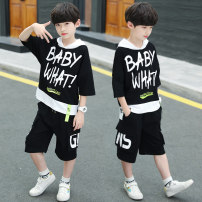 suit ADAM TAIKOO Black, orange, gray, 5,6,7,8,9,10,11,12 120cm,130cm,140cm,150cm,160cm,170cm male summer Korean version Short sleeve + pants 2 pieces Thin money There are models in the real shooting Socket No detachable cap Solid color cotton children Expression of love Class B Cotton 100%
