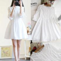 Dress Spring 2021 white S. M, l, XL, XXXs pre-sale Mid length dress singleton  three quarter sleeve commute Crew neck Socket Princess Dress routine Korean version Splicing 81% (inclusive) - 90% (inclusive)