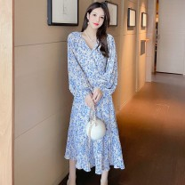 Dress Spring 2021 Blue white S M L XL Mid length dress singleton  Long sleeves commute V-neck High waist Broken flowers Others 18-24 years old Sabina literature 20210311-24 More than 95% other Other 100% Pure e-commerce (online only)
