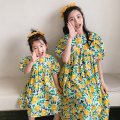 Parent child fashion Yellow and green flowers Women's dress female Other / other 90cm, 100cm, 110cm, 120cm, 130cm, 140cm, mom's average size Spell magic-2867 summer leisure time routine Broken flowers Cotton padded jacket other Average size Spell magic-2865 Polyester 100% Class A Chinese Mainland