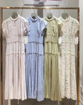 Dress Summer 2021 White, light blue, green, pink and beige 0=S,1=M longuette Two piece set Sleeveless Sweet stand collar High waist Solid color Socket Pleated skirt Flying sleeve Others 25-29 years old Type A Pleating, pleating, lace up, stitching, zipper 71% (inclusive) - 80% (inclusive) Chiffon
