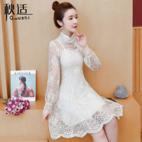 Dress Spring 2020 Off white S M L XL 2XL Mid length dress singleton  Long sleeves commute stand collar High waist Solid color Socket A-line skirt routine Others 25-29 years old Type A Autumn comfort Retro Opencut open back hook pattern opencut splicing mesh zipper lace QS168802675 More than 95% other