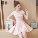 Dress Summer of 2019 Pink Blue S M L XL Mid length dress singleton  Short sleeve commute Crew neck High waist Decor Socket A-line skirt routine Others 25-29 years old Type A Autumn comfort Korean version Bow and zipper print More than 95% other Other 100% Pure e-commerce (online only)