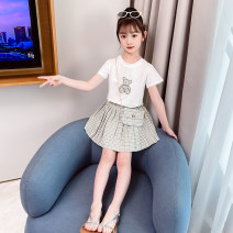 suit Bobo goose Light green [send the same bag] light pink [send the same bag] collection and purchase priority delivery 110cm 120cm 130cm 140cm 150cm 160cm female summer Korean version Short sleeve + skirt 2 pieces Thin money There are models in the real shooting Socket nothing lattice cotton elder
