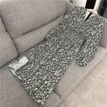 Dress Spring 2021 Faust cherry green S,M,L Mid length dress singleton  Long sleeves commute V-neck middle-waisted Broken flowers zipper Big swing routine Type X Korean version