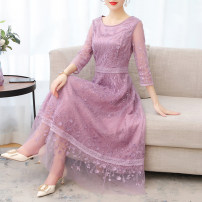 Dress Summer 2021 violet S M L XL 2XL 3XL longuette singleton  Long sleeves commute other Loose waist Solid color other Pleated skirt routine Others 35-39 years old Type H Yaqng Liu Xi Yao / willow waist lady bow YLXY7347# 71% (inclusive) - 80% (inclusive) other polyester fiber