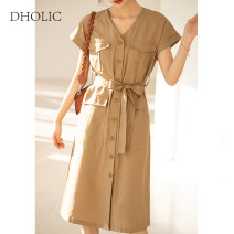 Dress Summer 2021 Black, khaki, army green S,M,L Mid length dress singleton  Long sleeves commute V-neck High waist Solid color Single breasted A-line skirt routine Others Type H Korean version Button, tie, strap