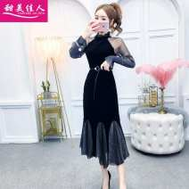 Dress Winter of 2019 black S,M,L Mid length dress singleton  Long sleeves commute stand collar High waist Solid color Socket Ruffle Skirt routine Others 18-24 years old Type H Other / other Korean version Bright silk, stitching, making old SY3135# More than 95% velvet polyester fiber