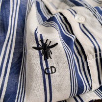 shirt blue Summer of 2019 cotton 96% and above Long sleeves Versatile Medium length Crew neck Single row multi button routine stripe Straight cylinder Embroidery, buttons