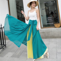 skirt Summer 2021 M,L,XL Red and black, orange and apricot, rose powder, yellow and green, green and purple, red powder, white and purple, green and red longuette Versatile High waist A-line skirt Solid color Type A 91% (inclusive) - 95% (inclusive) Chiffon polyester fiber Lace up, strap, splice