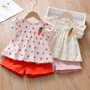 suit Anemora / Eni Mengmeng Pink, red 90cm,100cm,110cm,120cm,130cm female summer Korean version Short sleeve + pants 2 pieces routine No model A button nothing Fruits and Vegetables cotton children Expression of love J9007 Class B Cotton 90% other 10% Chinese Mainland Guangdong Province Foshan City