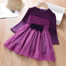 Dress Purple Star spring and Autumn female Anemora / Eni Mengmeng 90cm,100cm,110cm,120cm,130cm,140cm,150cm Cotton 90% other 10% spring and autumn Korean version Long sleeves Solid color cotton A-line skirt J1701 Class B Chinese Mainland Guangdong Province Foshan City