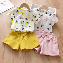 suit Anemora / Eni Mengmeng Pink, yellow 90cm,100cm,110cm,120cm,130cm female summer Korean version Short sleeve + pants 2 pieces routine No model Single breasted nothing Fruits and Vegetables cotton children Expression of love J2168 Class B Cotton 90% other 10% Chinese Mainland Guangdong Province