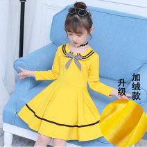 Dress Autumn 2020 Yellow, Navy, pink, Navy 1, pink 1, yellow 2, pink 2, Navy 2, yellow 3, Pink 3, Navy 3, yellow 1 110, 120, 130, 140, 150, 160 Mid length dress singleton  Long sleeves Sweet Crew neck middle-waisted Solid color Socket Princess Dress routine Others Under 17 Type H Other / other other