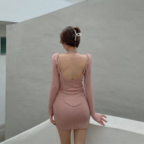 Dress Spring 2021 Grey, pink, black Average size Short skirt singleton  Long sleeves commute Crew neck High waist Solid color Socket A-line skirt routine Others 18-24 years old Other / other Retro Open back, chain 0117+