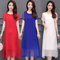 Dress Summer of 2019 Red, blue, black, white L,XL,2XL,3XL,4XL Mid length dress singleton  Short sleeve commute Crew neck Loose waist Solid color Socket A-line skirt routine Others 40-49 years old Type A Korean version 91% (inclusive) - 95% (inclusive) Chiffon polyester fiber