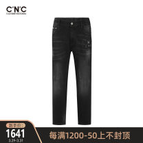 Jeans Youth fashion C'N'C 29 30 31 32 33 34 35 36 38 40 black routine Micro bomb trousers autumn youth middle-waisted Fitting straight tube tide 2020 Straight foot zipper washing Autumn 2020 Same model in shopping mall (sold online and offline)