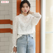 shirt S M L Spring 2020 polyester fiber 96% and above Long sleeves commute Regular Half high collar Socket routine Solid color 18-24 years old Self cultivation Basabai Korean version Polyester 100% Pure e-commerce (online only)
