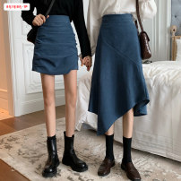 skirt Autumn 2020 S M L Mid length dress commute High waist A-line skirt Solid color Type A 18-24 years old More than 95% other Basabai other Asymmetric zipper stitching Korean version Other 100% Exclusive payment of tmall