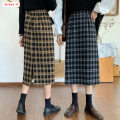 skirt Winter 2020 S M L Brown Black Mid length dress commute High waist A-line skirt lattice Type A 18-24 years old More than 95% Wool Basabai other Splicing Korean version Other 100% Pure e-commerce (online only)
