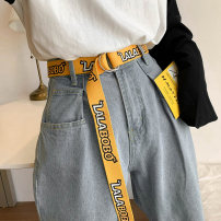 Belt / belt / chain canvas Black white yellow red currency belt Versatile Single loop Youth Double buckle Double button soft surface 3.2cm alloy weave Wet beauty SM-1429 Summer 2020