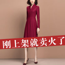 Middle aged and old women's wear Spring 2021 claret S M L XL 2XL 3XL Intellectuality Dress Self cultivation singleton  40-49 years old moderate V-neck Qianhua song other Other 100% 96% and above Pure e-commerce (online only) Medium length