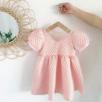 Dress White, pink female Other / other 80cm,90cm,100cm,110cm,120cm,130cm Other 100% summer Korean version Short sleeve bow Pure cotton (100% cotton content) Princess Dress Class B 2 years old, 3 years old, 4 years old, 5 years old, 6 years old