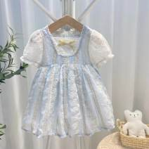 Dress blue female Other / other 80cm,90cm,100cm,110cm,120cm,130cm Other 100% summer Korean version Short sleeve Solid color Lace Princess Dress Class A 2 years old, 3 years old, 4 years old, 5 years old, 6 years old