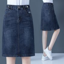 skirt Spring 2021 S 26,M 27,L 28,XL 29,2XL 30,3XL 31 blue Middle-skirt commute High waist Denim skirt Solid color Type A 35-39 years old XZT-XYL-20103 71% (inclusive) - 80% (inclusive) Denim Other / other cotton Embroidery, pocket Korean version