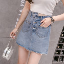 skirt Spring of 2019 S M L XL blue Short skirt commute High waist A-line skirt Solid color 18-24 years old 81% (inclusive) - 90% (inclusive) Winekdagny / viktino cotton Korean version Cotton 88% polyester 12% Pure e-commerce (online only)