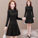 Dress Winter 2020 black M L XL 2XL 3XL 4XL Mid length dress singleton  Long sleeves commute Polo collar High waist lattice Socket A-line skirt routine Others 40-49 years old Type A Gini language Korean version Splicing More than 95% polyester fiber Other polyester 95% 5% Pure e-commerce (online only)
