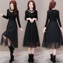 Dress Winter 2020 black M L XL 2XL 3XL longuette singleton  Long sleeves commute V-neck middle-waisted Solid color Socket A-line skirt routine Others 40-49 years old Type A Gini language Korean version Splicing GNY-XYKL-LY35 More than 95% polyester fiber Other polyester 95% 5%