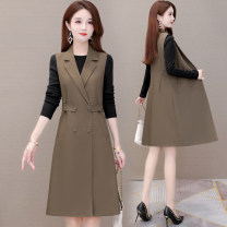 Dress Autumn 2020 Khaki black M L XL 2XL 3XL 4XL Mid length dress Two piece set commute tailored collar Solid color double-breasted A-line skirt routine Others 40-49 years old Type A Gini language Korean version Button GNY-XYKL-20B62 More than 95% polyester fiber Other polyester 95% 5%