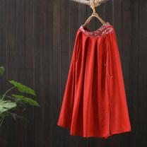 skirt Spring 2021 Average size Red, white Mid length dress commute Natural waist A-line skirt Type A HY107—4283 More than 95% Zeeoiy / alternative hemp fold Retro