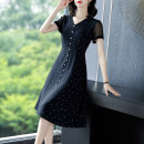 Dress Spring 2021 Black black- S M L XL XXL 3XL Mid length dress singleton  Short sleeve commute V-neck High waist Dot Socket A-line skirt routine Others 40-49 years old Type A Yi meichu lady Stitched button zipper YN-1031 More than 95% other other Other 100% Pure e-commerce (online only)