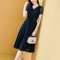 Dress Spring 2021 Black black- S M L XL 2XL 3XL Mid length dress singleton  Short sleeve commute V-neck middle-waisted Solid color zipper A-line skirt routine Others 40-49 years old Type A Yi meichu lady Three dimensional decoration of bow YN-963 More than 95% other other Other 100%