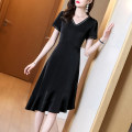 Dress Summer 2021 Black black- S M L XL 2XL 3XL Middle-skirt singleton  Short sleeve commute V-neck middle-waisted Solid color Socket A-line skirt routine Others 40-49 years old Type A Yi meichu lady Stitched asymmetric zipper YN-1069 More than 95% other other Other 100% Pure e-commerce (online only)