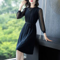 Dress Spring 2021 Black black- S M L XL 2XL 3XL Mid length dress singleton  Long sleeves commute Crew neck middle-waisted Solid color Socket A-line skirt routine Others 40-49 years old Type A Yi meichu lady Lace up zipper YN-760 More than 95% other other Other 100% Pure e-commerce (online only)