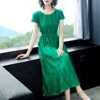 Dress Summer of 2019 green M L XL XXL Mid length dress singleton  Short sleeve commute Crew neck middle-waisted stripe Socket A-line skirt routine Others 30-34 years old Type A Yi meichu Simplicity YQ-036 51% (inclusive) - 70% (inclusive) other cotton Pure e-commerce (online only)