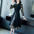 Dress Autumn 2020 S M L XL 2XL 3XL Mid length dress Fake two pieces Long sleeves commute V-neck middle-waisted Decor zipper A-line skirt routine Others 40-49 years old Type A Yi meichu lady Bow and zipper print More than 95% other other Other 100% Pure e-commerce (online only)
