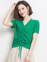 T-shirt Yellow, green, white, red rice, navy S,M,L,XL,2XL Summer 2020 Short sleeve V-neck Self cultivation have cash less than that is registered in the accounts routine commute other 96% and above Korean version Solid color Other / other HJS20X5672M Splice, strap, thread