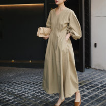 Dress Summer 2021 Khaki black S M L XL longuette singleton  Long sleeves commute V-neck High waist Solid color Socket Big swing bishop sleeve Others 25-29 years old Type A Art in love with Su Korean version Pocket zipper 51% (inclusive) - 70% (inclusive) other cotton Cotton 70% polyester 30%