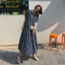 Dress Summer 2021 Black flowers S M L XL longuette singleton  Short sleeve commute Crew neck High waist Dot Socket A-line skirt routine Others 25-29 years old Type A Art in love with Su Korean version printing More than 95% Chiffon polyester fiber Other polyester 95% 5% Pure e-commerce (online only)